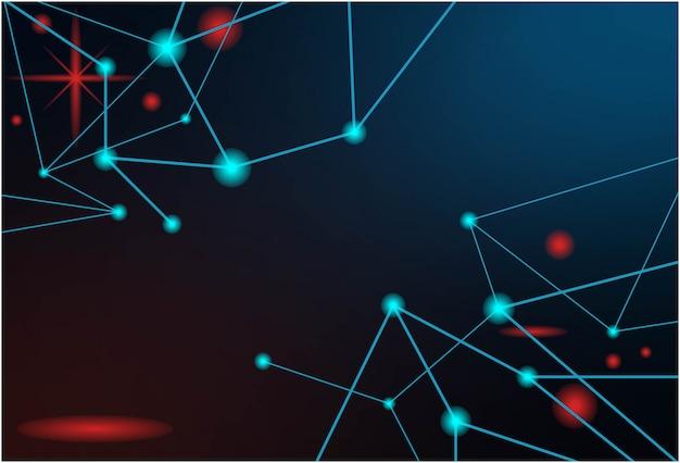青い粒子と抽象的な背景技術