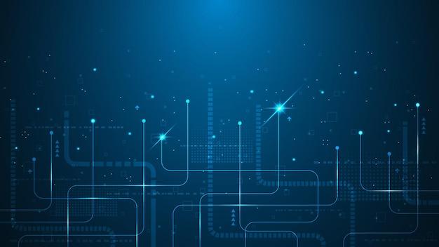 진한 파란색 배경에 현대 기술과 혁신을 전달하는 추상적 인 배경.