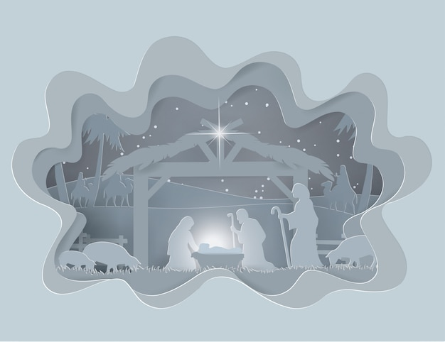 Abstract background traditional christmas nativity scene of baby jesus in winter season
