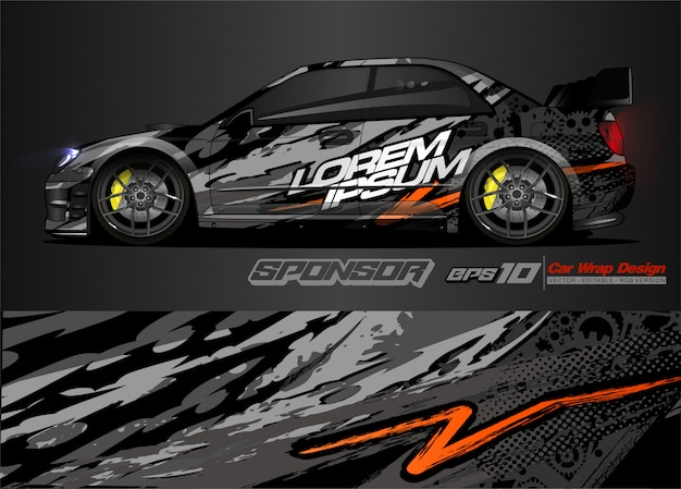 Abstract background vector for racing car wrap design and vehicle livery