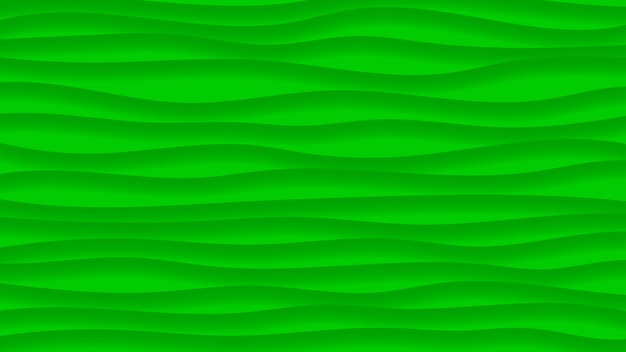 Abstract background of wavy lines with shadows in green colors