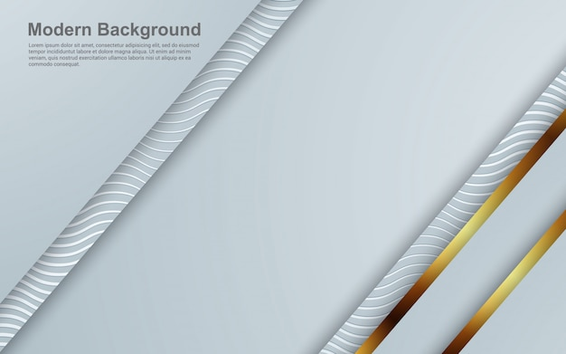 Abstract background white and grey color with golden color modern
