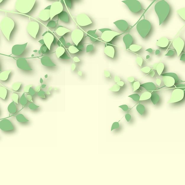 明るい黄色の背景に3dの枝と葉を持つ抽象的な背景