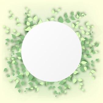 明るい黄色の背景の空白の丸いコピースペースの周りに3dの葉のフレームを持つ抽象的な背景