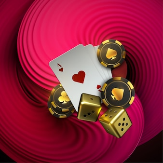 Abstract background with 3d pink squeezed liquid shape. playing cards and poker chips fly casino. casino roulette concept on white background.