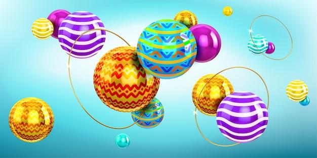 Абстрактный фон с 3d сферами и золотыми кольцами. голографическая композиция из шаров с цветным узором и орнаментом и золотыми кольцами. современные креативные геометрические обои