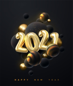 Abstract background with 3d spheres cluster. golden and black bubbles. happy new 2021 year. holiday  illustration of golden metallic numbers 2021.