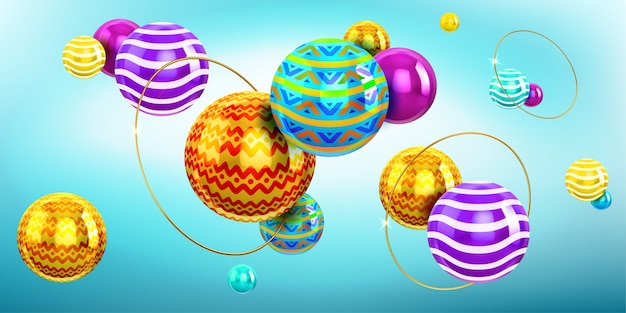 Abstract background with 3d spheres and gold rings. holographic composition of balls with color pattern and ornament and golden rings. modern creative geometric wallpaper