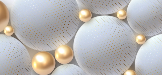 Abstract background with 3d spheres. golden and white bubbles.  illustration of balls textured with halftone pattern. jewelry cover concept. horizontal banner.