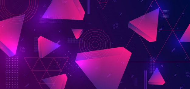 Abstract background with 3d triangle geometric
