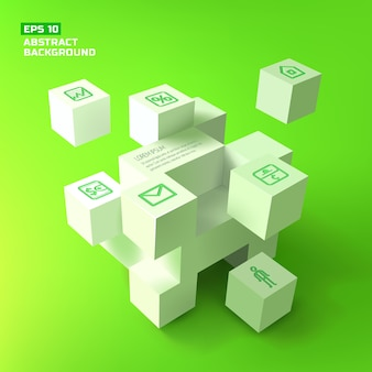 Abstract background with 3d white cubes