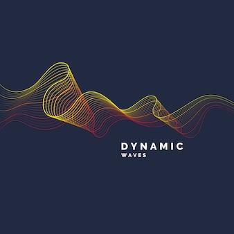 Абстрактный фон с цветными динамическими волнами, линией и частицами.