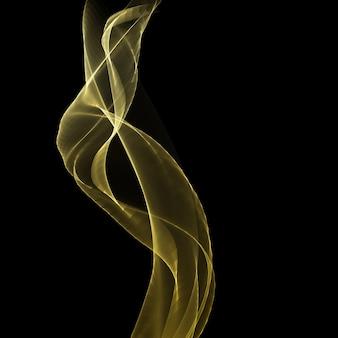 황금 흐르는 파도 디자인으로 추상적 인 배경