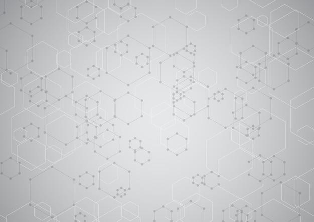 モダンな六角形の技術デザインと抽象的な背景