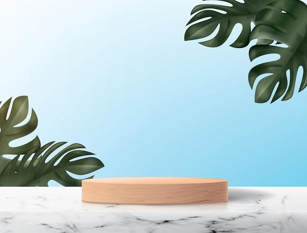 水色の背景に木製の台座と抽象的な背景。