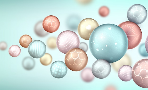 Abstract background with balls flying randomly