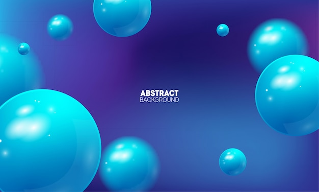 Abstract background with beautiful gradient and flying 3d balls.