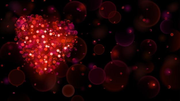 Abstract background with big red heart with bokeh effect. heart of blurred defocused lights in red colors. red heart of bokeh lights with sparkles.
