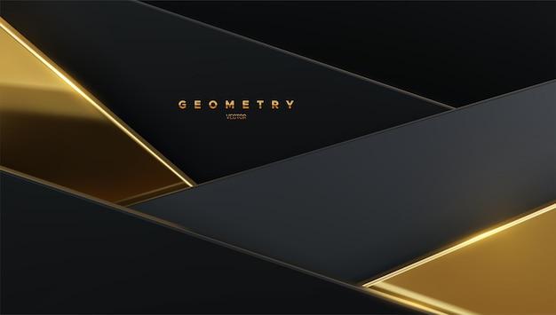 검은 색과 황금색 기하학적 형태와 추상적 인 배경