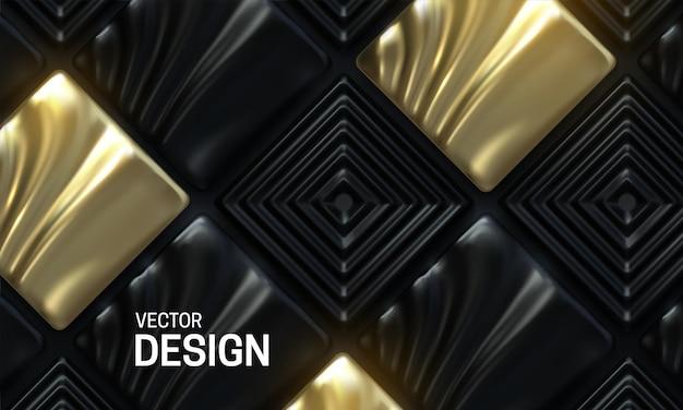 Абстрактный фон с черной и золотой декоративной мозаичной плиткой
