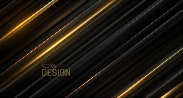 黒と金色のスライスされた表面と抽象的な背景