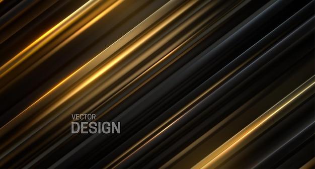 검은 색과 황금색 슬라이스 표면으로 추상적 인 배경