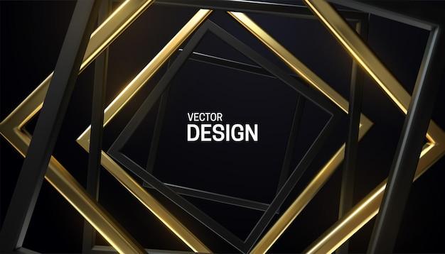 黒と金色の正方形のフレームと抽象的な背景