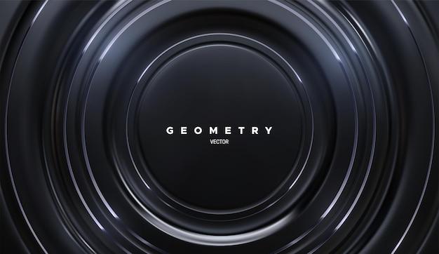 黒い円の形と銀の縞模様の抽象的な背景