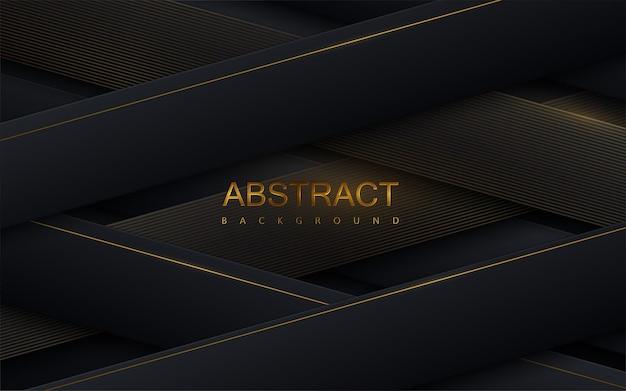 Абстрактный фон с черными перекрещивающимися лентами Premium векторы