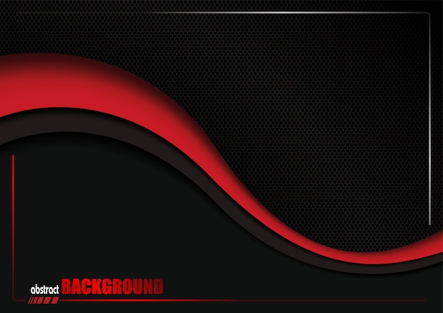 Abstract background with black dotted grid and red wave