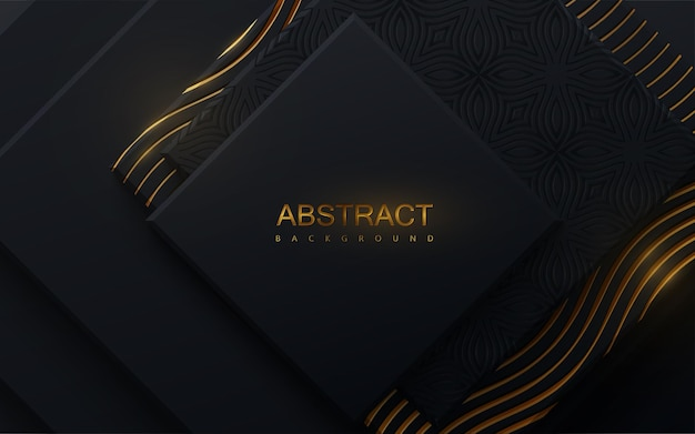 Abstract background with black geometric shapes and golden engraved pattern
