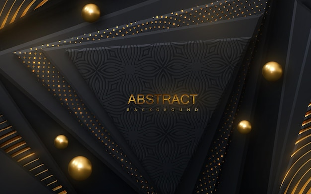 Abstract background with black geometric shapes and golden glittering patterns