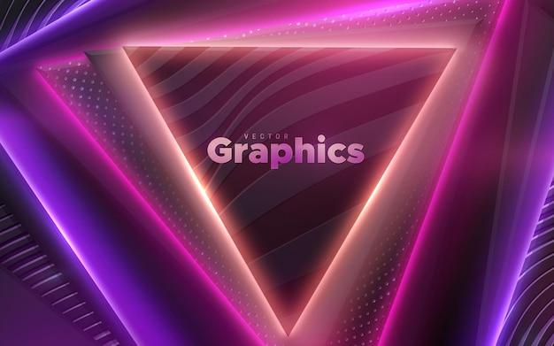 Абстрактный фон с черными геометрическими фигурами треугольника и неоновым светом