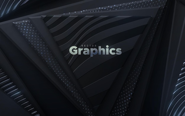 Abstract background with black geometric triangle shapes textured with silver glitters