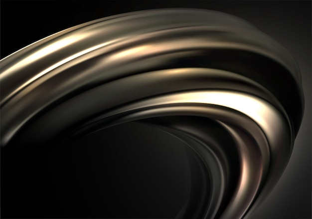 Abstract background with black gold 3d wave