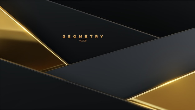 Abstract background with black and golden geometric shapes