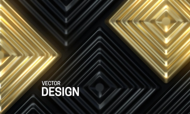 Abstract background with black and golden ornate mosaic tiles