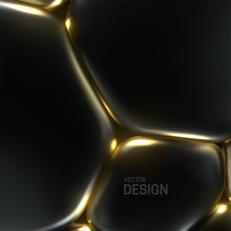 Abstract background with black and golden soft bubbles