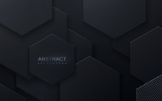 Abstract background with black hexagonal shapes textured with silver glitters