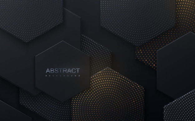 Abstract background with black hexagonal shapes textured with silver and golden glitters