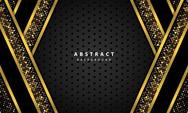 黒のオーバーラップレイヤーと抽象的な背景。ゴールドのラインとゴールドのキラキラドット要素の装飾が施されたテクスチャ。