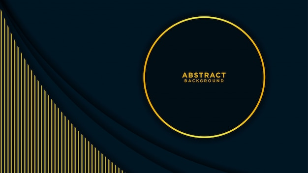 Abstract background with black overlapping layers and gold line