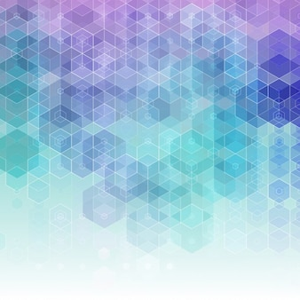 파란색과 보라색 육각형으로 추상적 인 배경