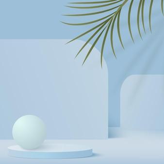 青い色の幾何学的な3d表彰台と抽象的な背景。 Premiumベクター