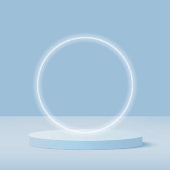Абстрактный фон с синим цветом геометрический подиум 3d.