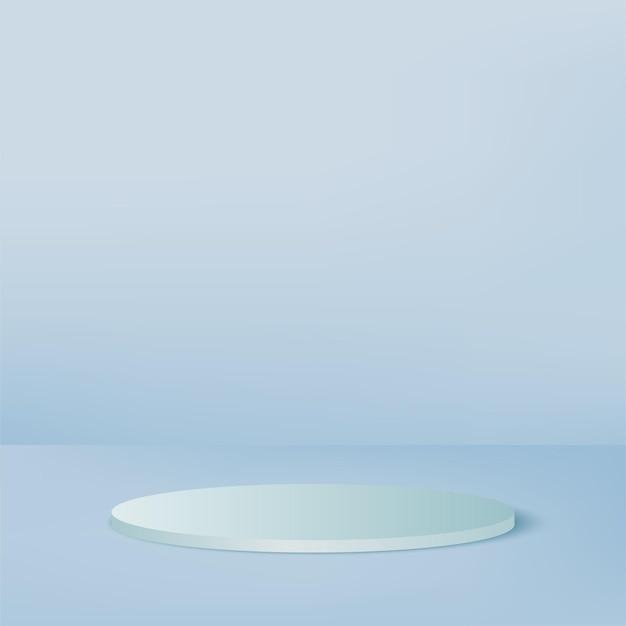 青い色の幾何学的な3d表彰台と抽象的な背景。