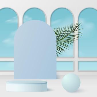 青い色の幾何学的な 3 d 表彰台と抽象的な背景