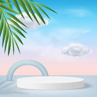 青い色の幾何学的な3d表彰台と雲と抽象的な背景。ベクトルイラスト Premiumベクター