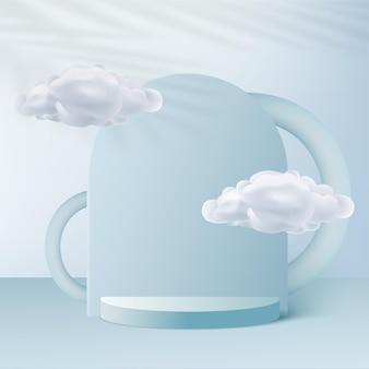 青い色の幾何学的な3d表彰台と雲と抽象的な背景。ベクトルイラスト