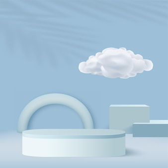 Abstract background with blue color geometric 3d podiums and clouds. vector illustration